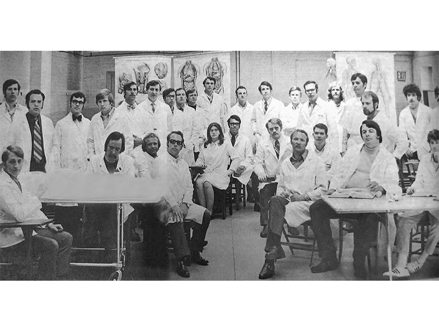 A group photo of the UNR Med inaugural Class of 1973.