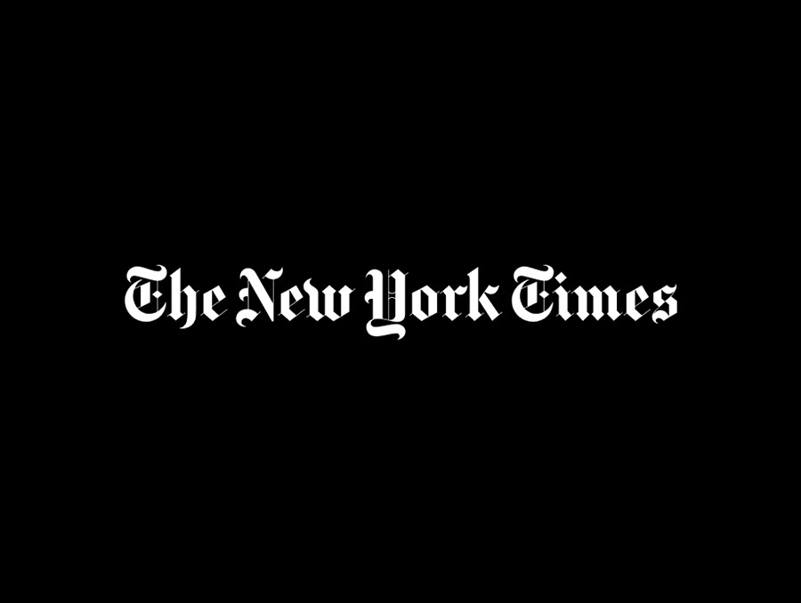 The New York Times newspaper logo with white text on a black background