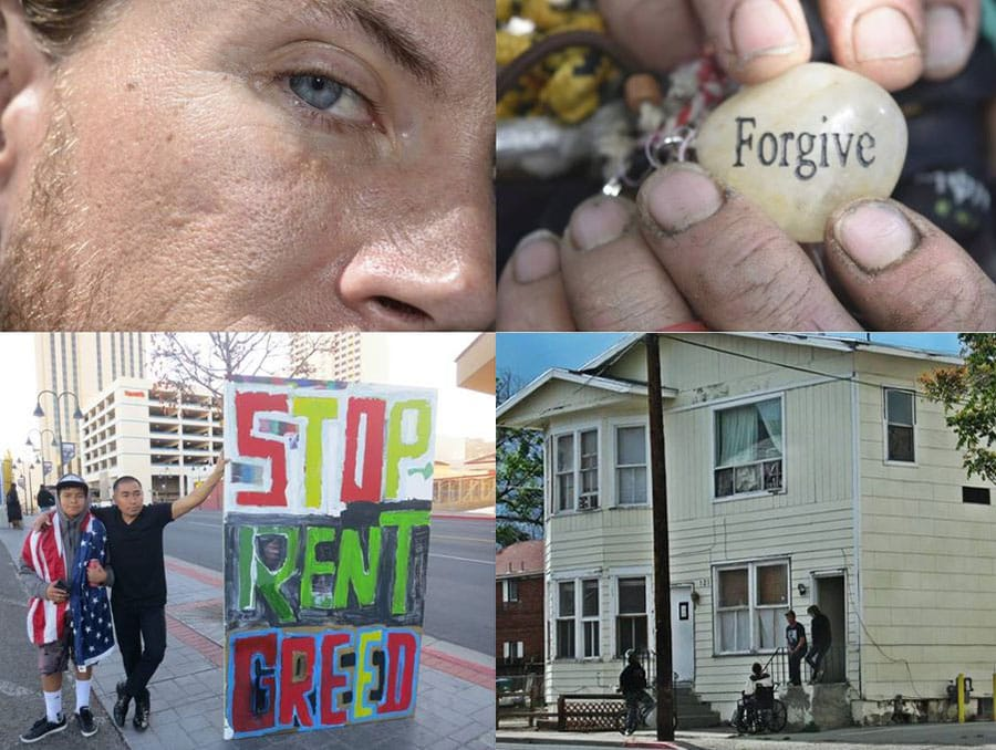 """Photo collage with the side of a man's face in the top left corner, two hands holding a rock that says forgive in the top right corner, two men holding a sign on the street that reads """"Stop Rent Greed"""" in the bottom left corner and a house with two people standing outside of it in the bottom right corner."""
