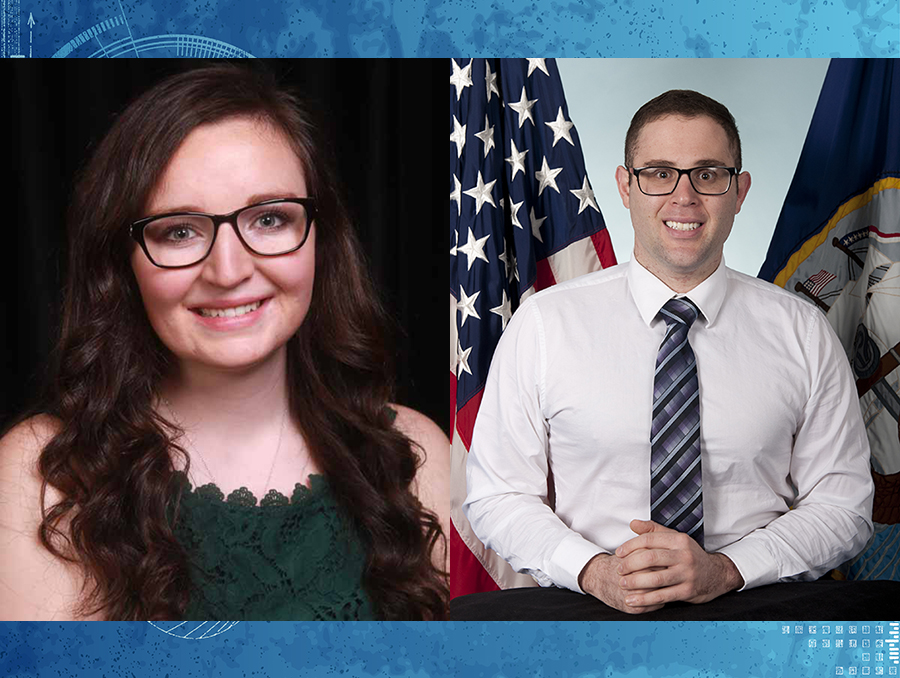 Megan Higley and Frank Pulciano, the latter seated in front of American flag
