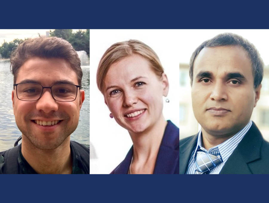 Ege Can, Olga Shapoval and Mobarak Hossain (from left to right), three PhD students within the College of Business Department of Economics.