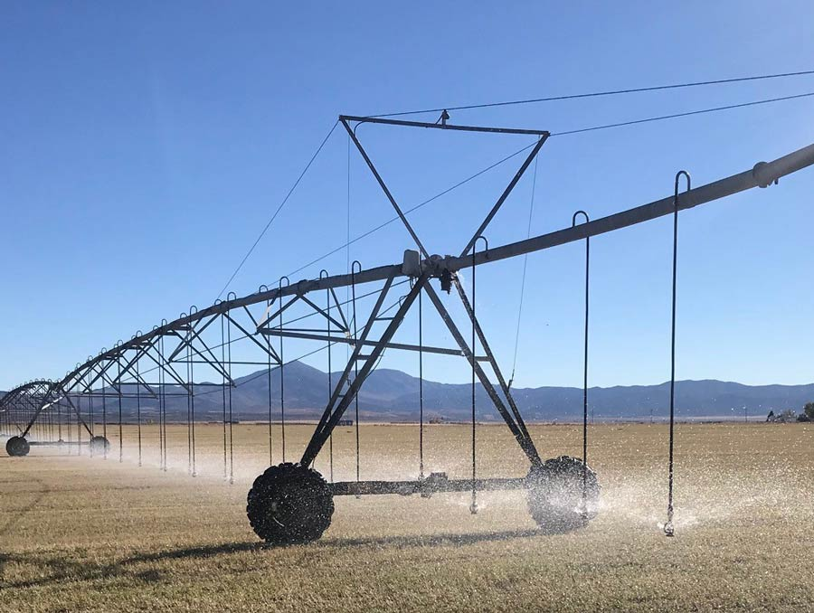 Pivot irrigation system watering a field at the Great Basin Research & Extension Center in Eureka.