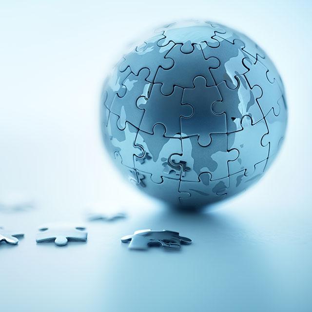A globe jigsaw puzzle of Earth