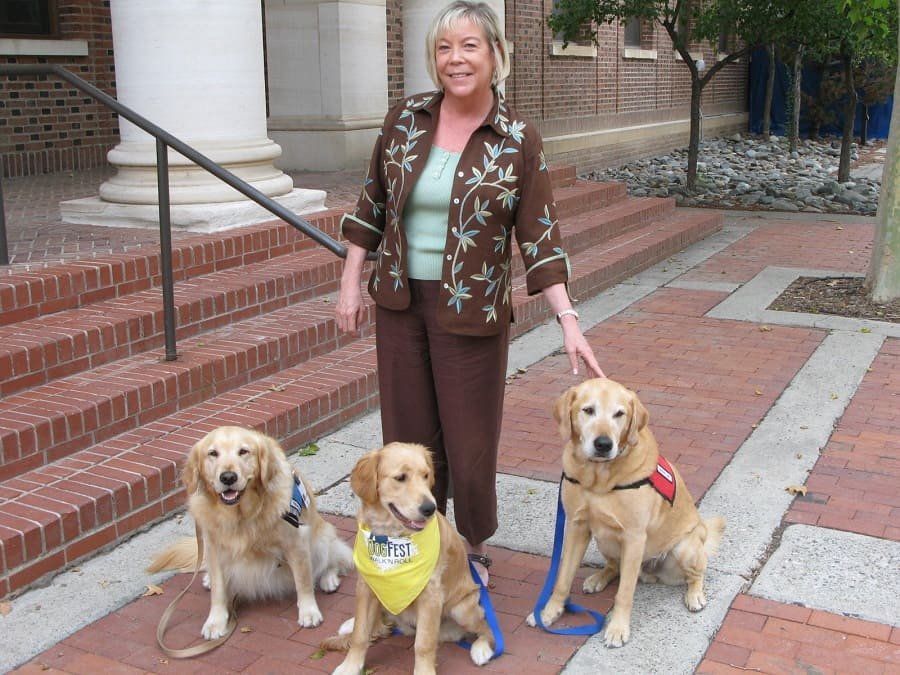 Mary Zabel with three trained assistance dogs at Dogfest