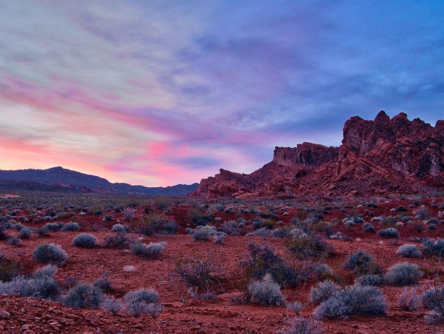 Nevada desert at sunset.