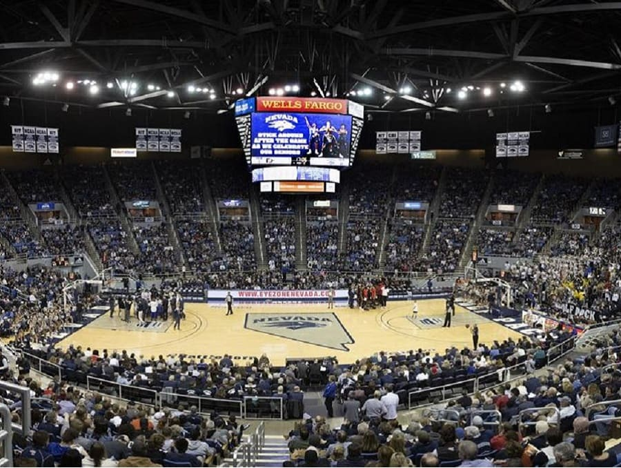 Lawlor Events Center set up for basketball with fans surrounding the court during a game