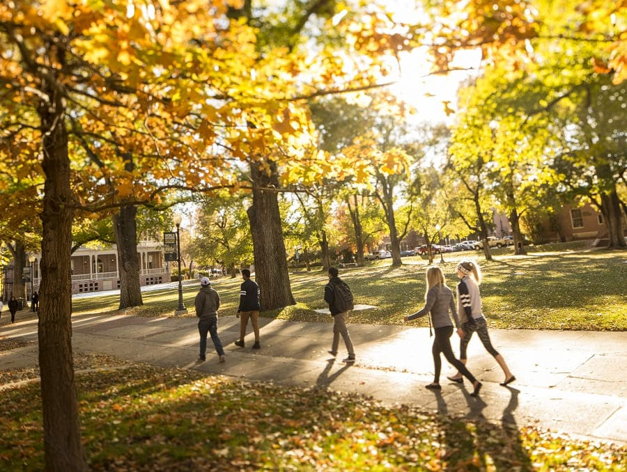 Students walking on the Quad with the leaves on the trees changing to autumnal colors and falling around them
