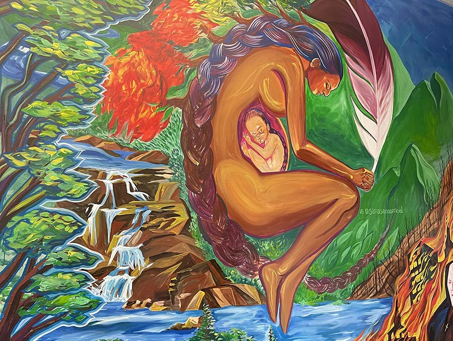 A mural in the Multicultural Center's Joe Crowley Student Union third-floor space honors Indigenous female-identified leaders