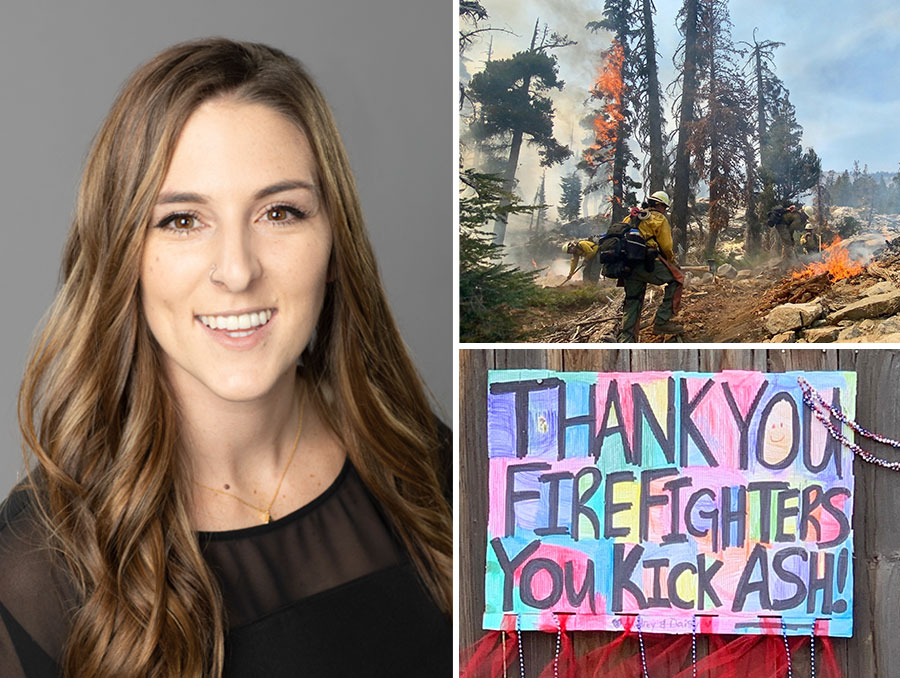 """(Left) Headshot of Jena Casas. Top-right: wildland firefighters trudge through challenging terrain in Desolation Wilderness while working on the Caldor Fire. Bottom-right: A hand-made sign for the firefighters on the Caldor Fire reads """"Thank you firefighters. You kick ash!""""."""