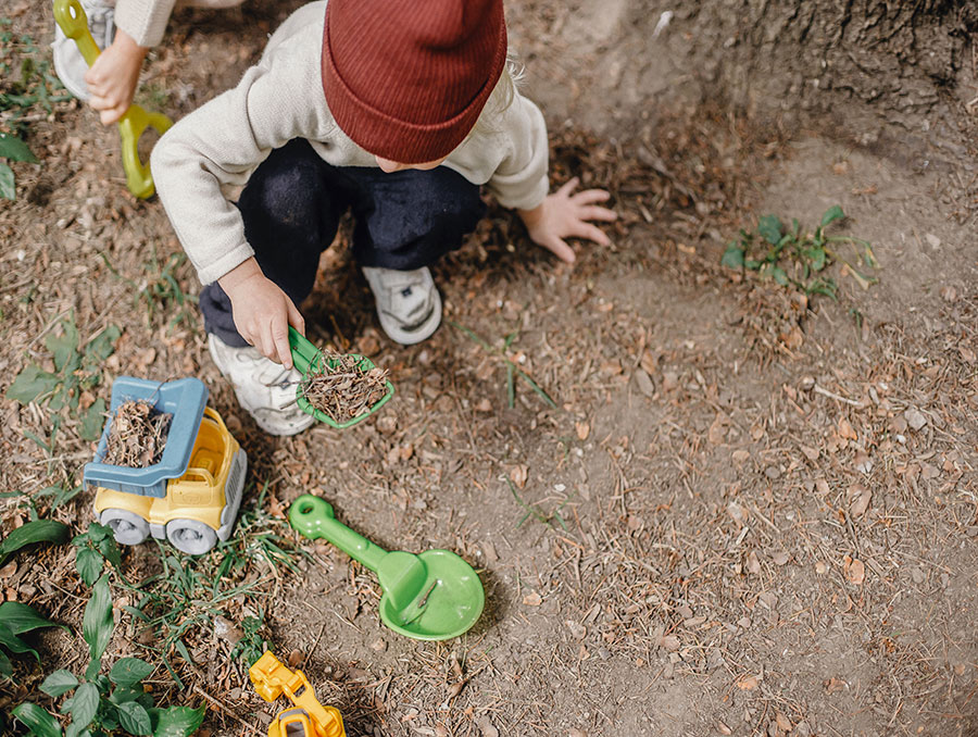 A child digging in the dirt