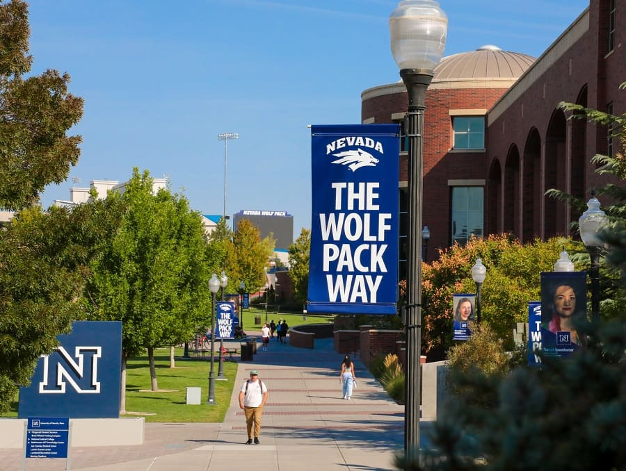 Wolf Pack Way banners running along the walkway in front of the Mathewson-IGT Knowledge Center, with the Block N in the foreground