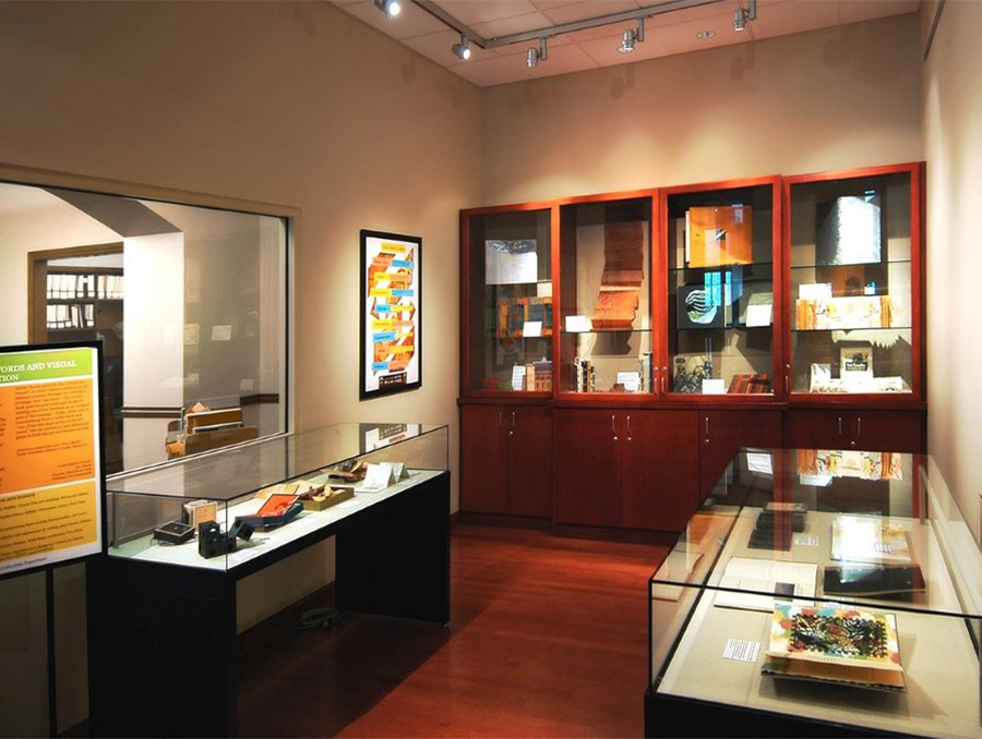 Exhibit with display cases inside Special Collections