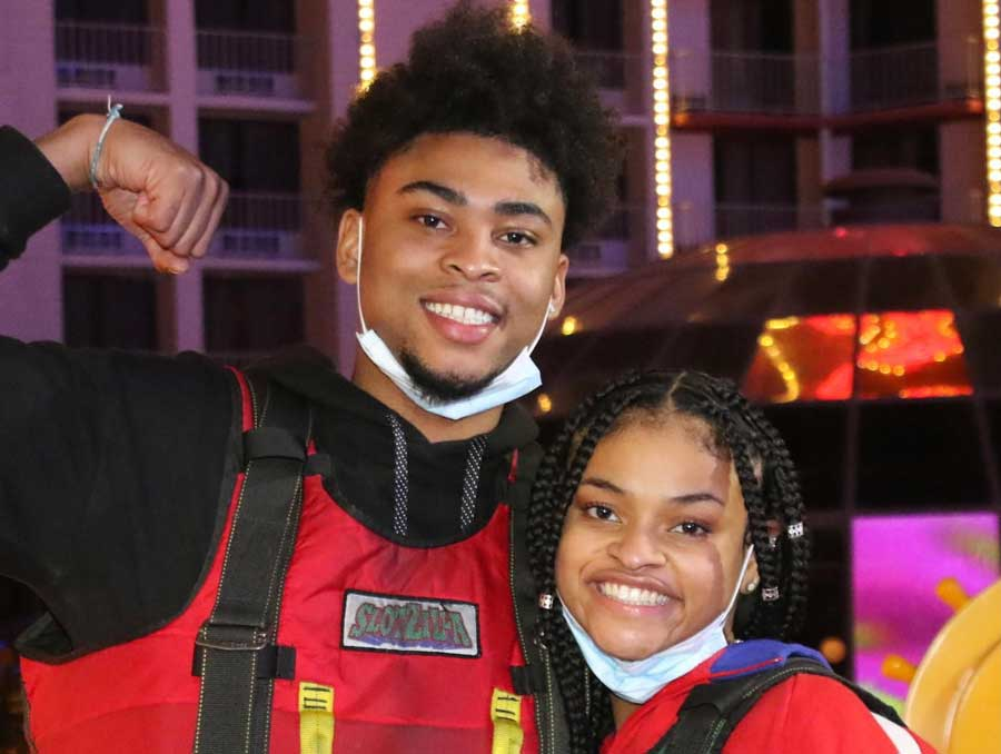 Kennedy Elliot and a companion at Slotzilla zip lines in Las Vegas