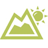 Icon of a green mountain with the sun over it to the right