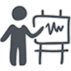 Icon of a generic person pointing to a whiteboard with a line chart on it