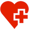 Icon of a red heart with a medical cross inserted to the right of the heart