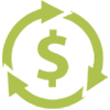 Icon of a dollar sign with three arrows making a circle around it