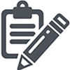 Icon of a generic pencil on top of a clipboard